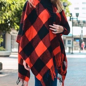 Red Black Buffalo Check Poncho Tassels